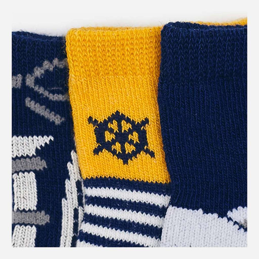 Mayoral Navy/Yellow 3 Socks Set-Accessories-Mayoral-kids atelier