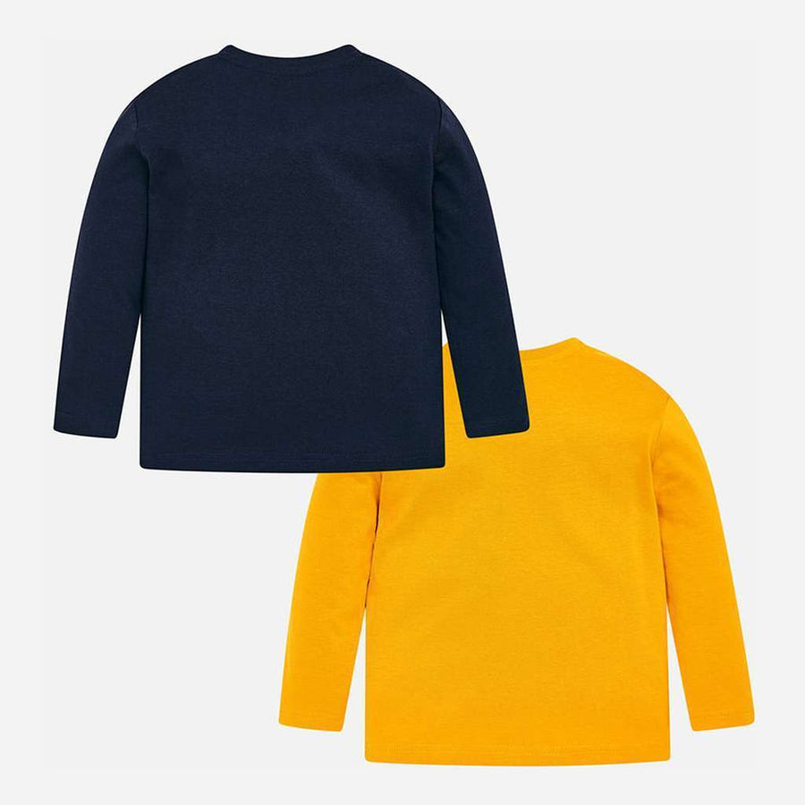 Mayoral Navy/Yellow 2 Long Sleeve T-Shirts Set-T-Shirt-Mayoral-kids atelier