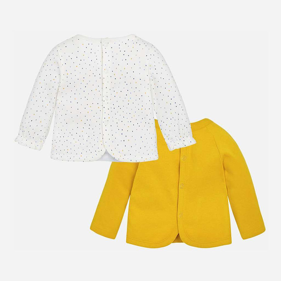 Mayoral White/Yellow 2 Long Sleeve T-shirt Set-T-Shirt-Mayoral-kids atelier