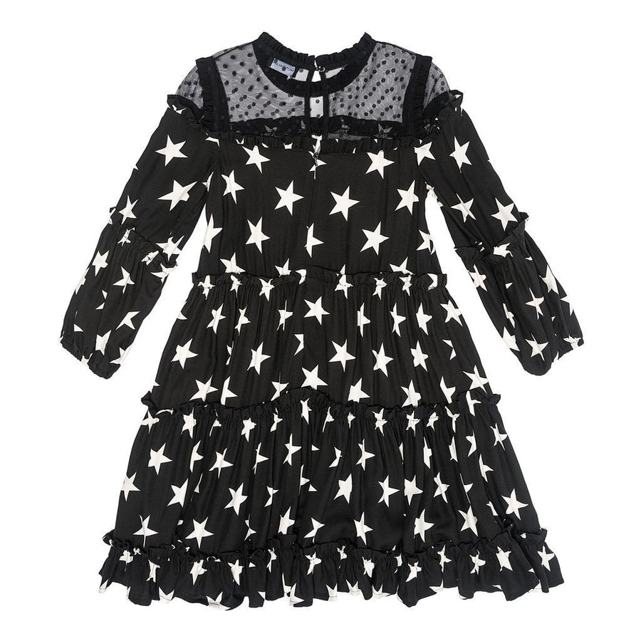 Monnalisa Black/Cream Abito Balze Stelle Dress