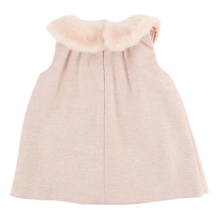 CHLOE PINK FUR COLLAR DRESS-Dresses-Chloe-kids atelier