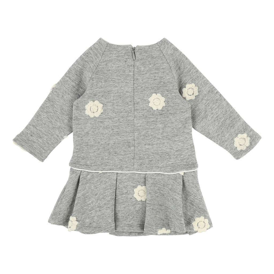 CHLOE GRAY EMBROIDERED FLOWERS DRESS-Dresses-Chloe-kids atelier