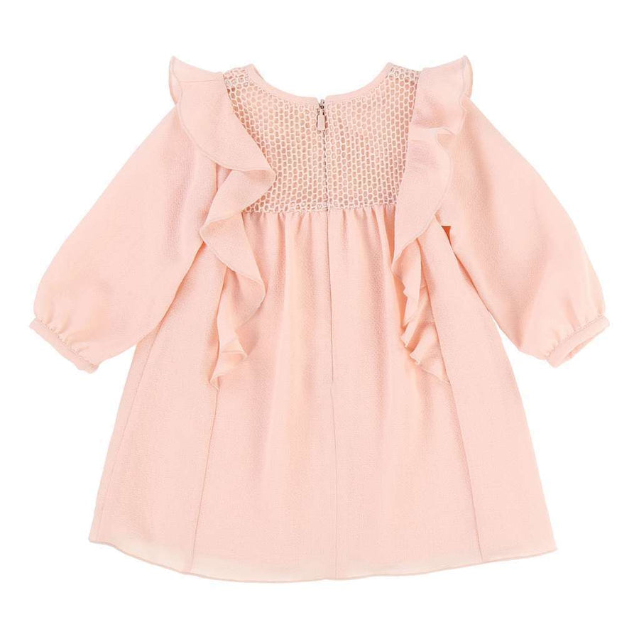 CHLOE PINK CREPE DRESS-Dresses-Chloe-kids atelier