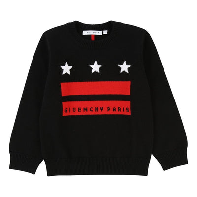 Givenchy Kids Black Star Knit Sweater-Sweaters-Givenchy-kids atelier