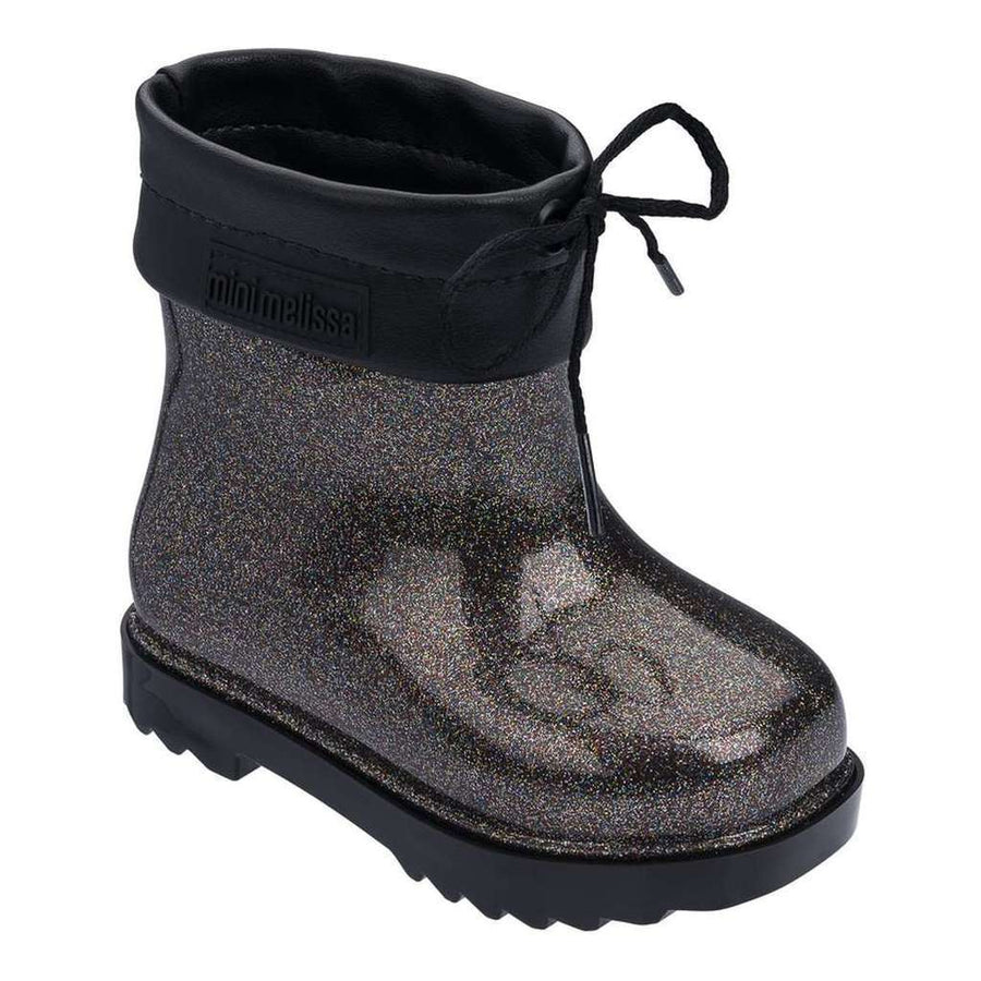 MINI MELISSA BLACK GLITTER MINI RAIN BOOT-Shoes-Mini Melissa-kids atelier