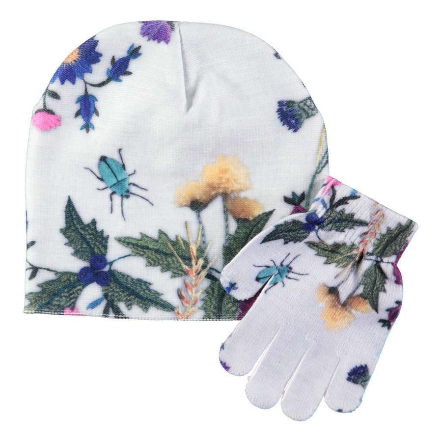 MOLO Kaya Flower Embroidery hat & mittens set-Accessories-Molo-kids atelier
