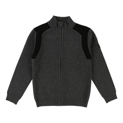 Boss Dark Gray Knitted Cardigan-Cardigans-BOSS-kids atelier