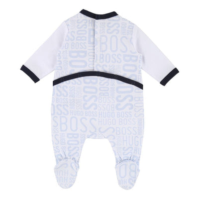 Boss White Blue Printed Logo Bodysuit-Bodysuits-BOSS-kids atelier