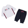 Boss White Logo T-Shirt & Navy Pant Set-Outfits-BOSS-kids atelier