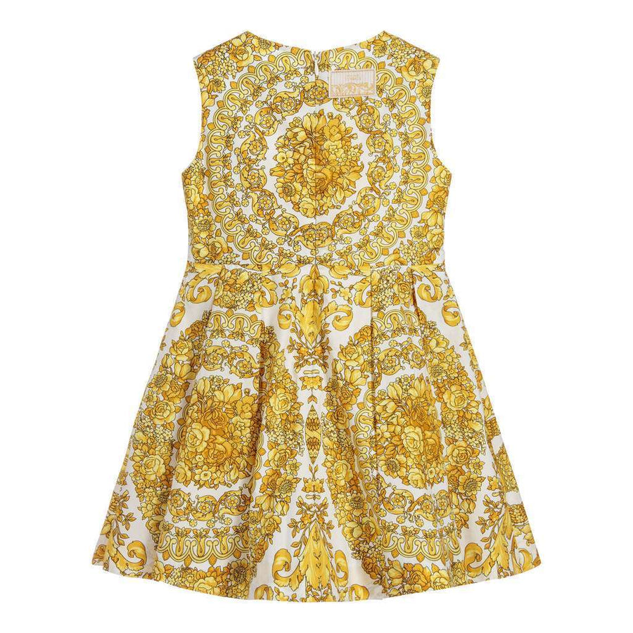 YOUNG VERSACE GOLD BAROCCO PRINT SLEEVELESS DRESS-Dresses-Young Versace-kids atelier