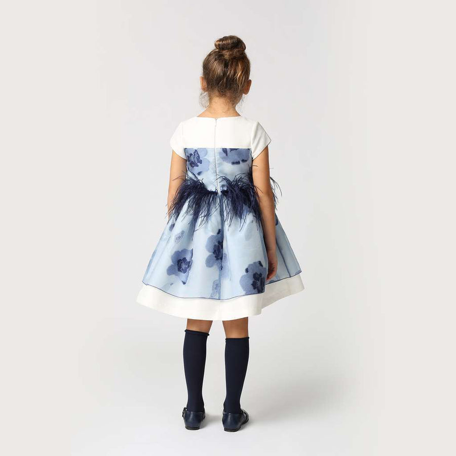 MAMA LUMA BLUE FLORAL FEATHER DRESS