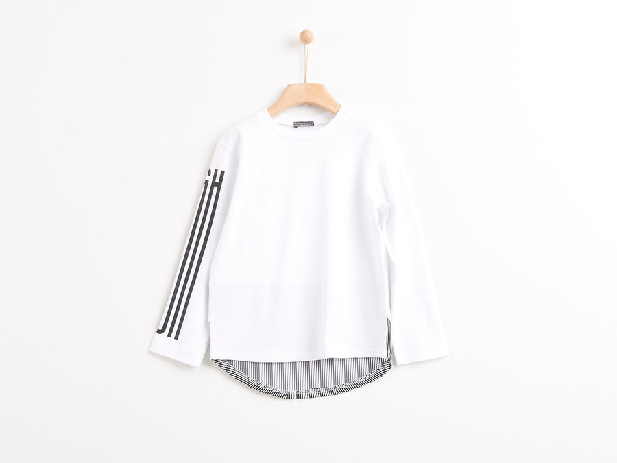 "WHITE ""HIGH"" BLACK STRIPE T-SHIRT"