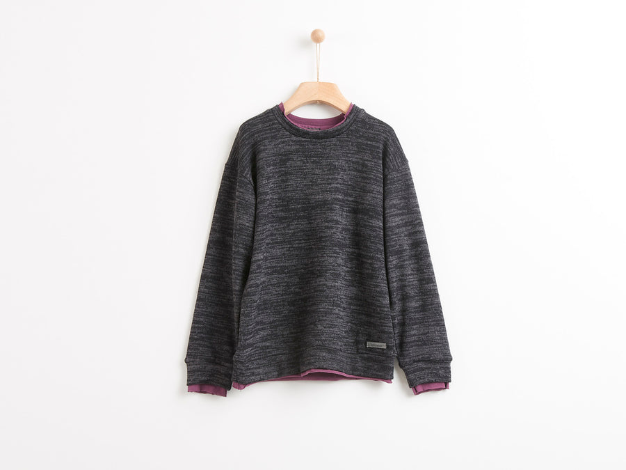 KNITTED CHARCOAL BLACK FLANNEL T-SHIRT