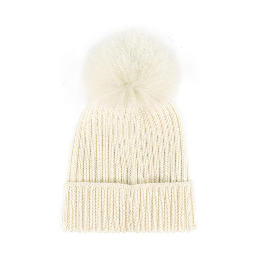 MONCLER WHITE CABLE KNIT POM POM BEANIE - kids atelier be2f0ca4580e
