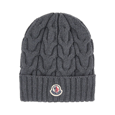 MONCLER GRAY CABLE KNIT BEANIE