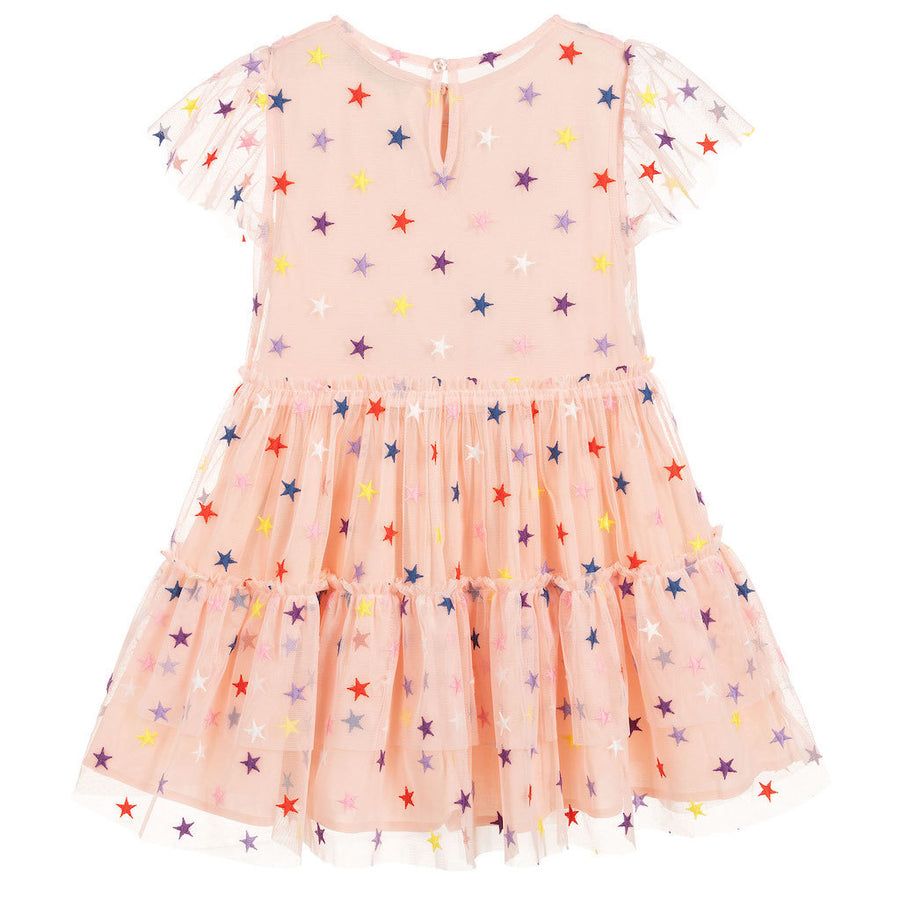 STELLA MCCARTNEY PINK MULTI-COLOR EMBROIDERED STARS TULLE DRESS