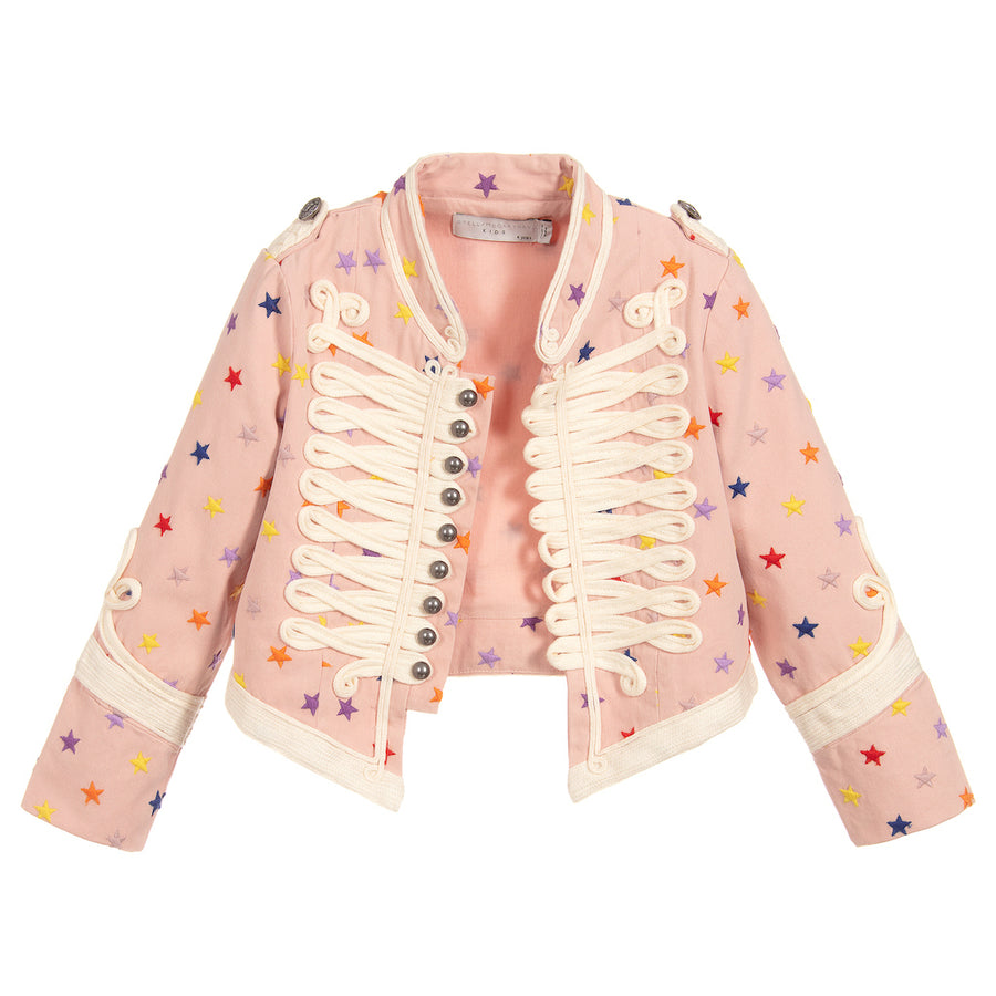 Stella Mccartney Pink Multicolored Embroidered Stars Jacket