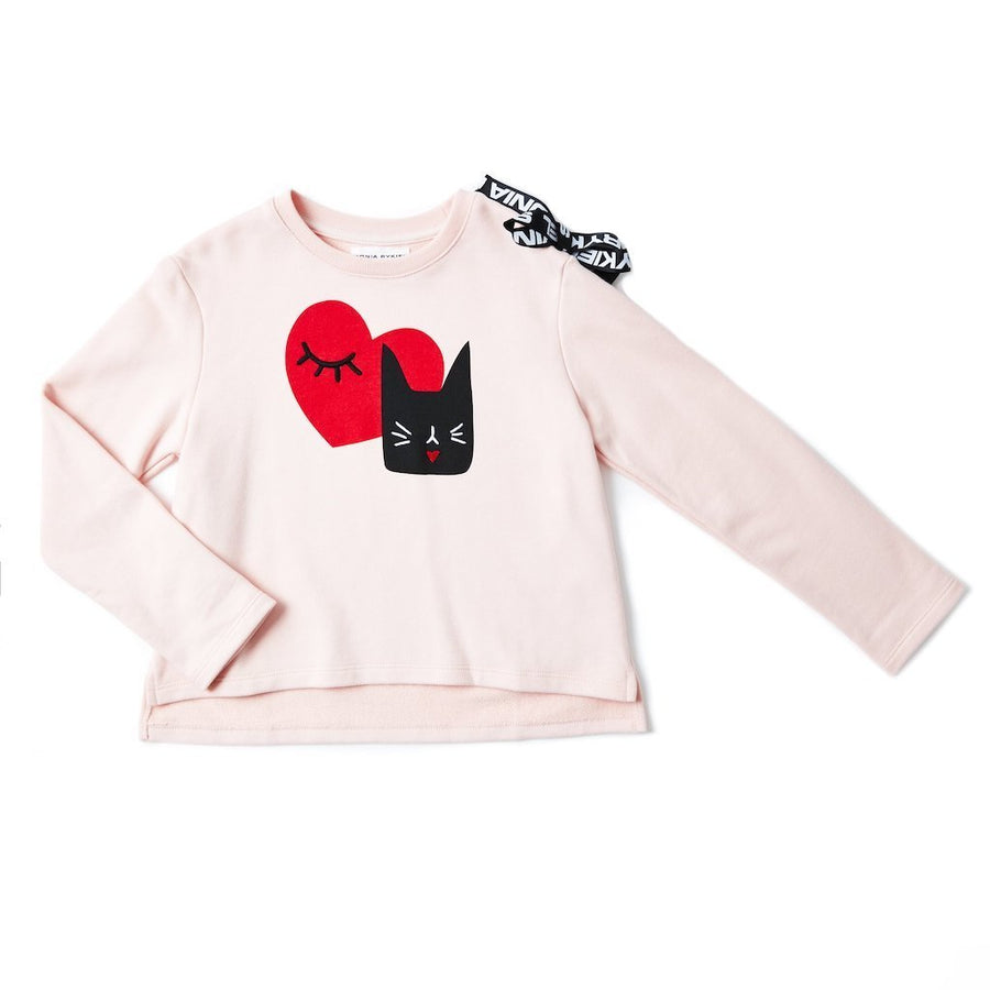 SONIA RYKIEL PINK CAT AND HEART GRAPHICS SWEAT TOP