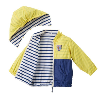 MIKI HOUSE YELLOW REVERSIBLE ZIP UP JACKET