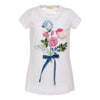 Monnalisa White Flower Bouquet T-Shirt