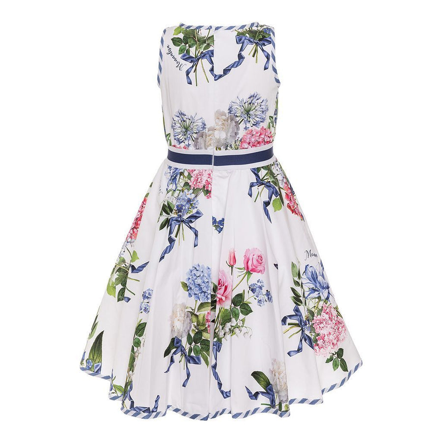 Monnalisa White Floral With Butterfly Print Dress