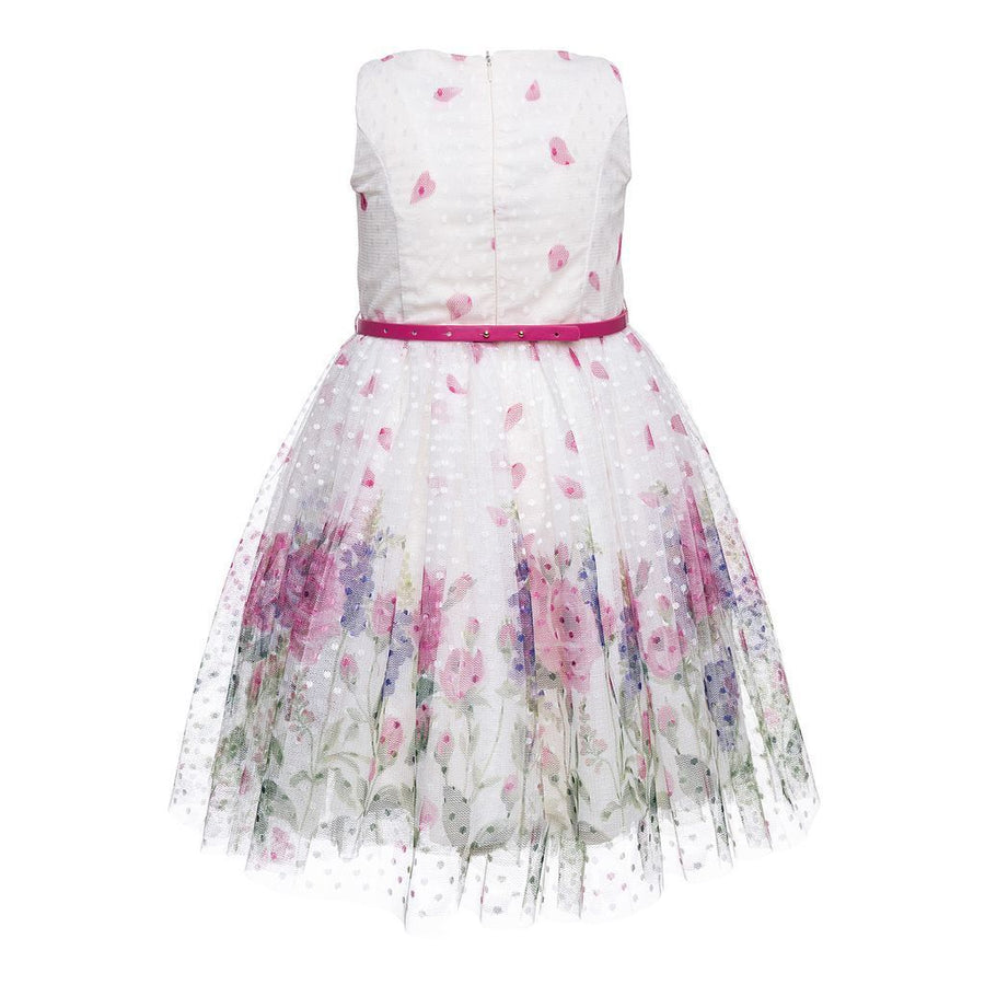 MONNALISA WHITE ROSE DRESS WITH PINK BOW BELT