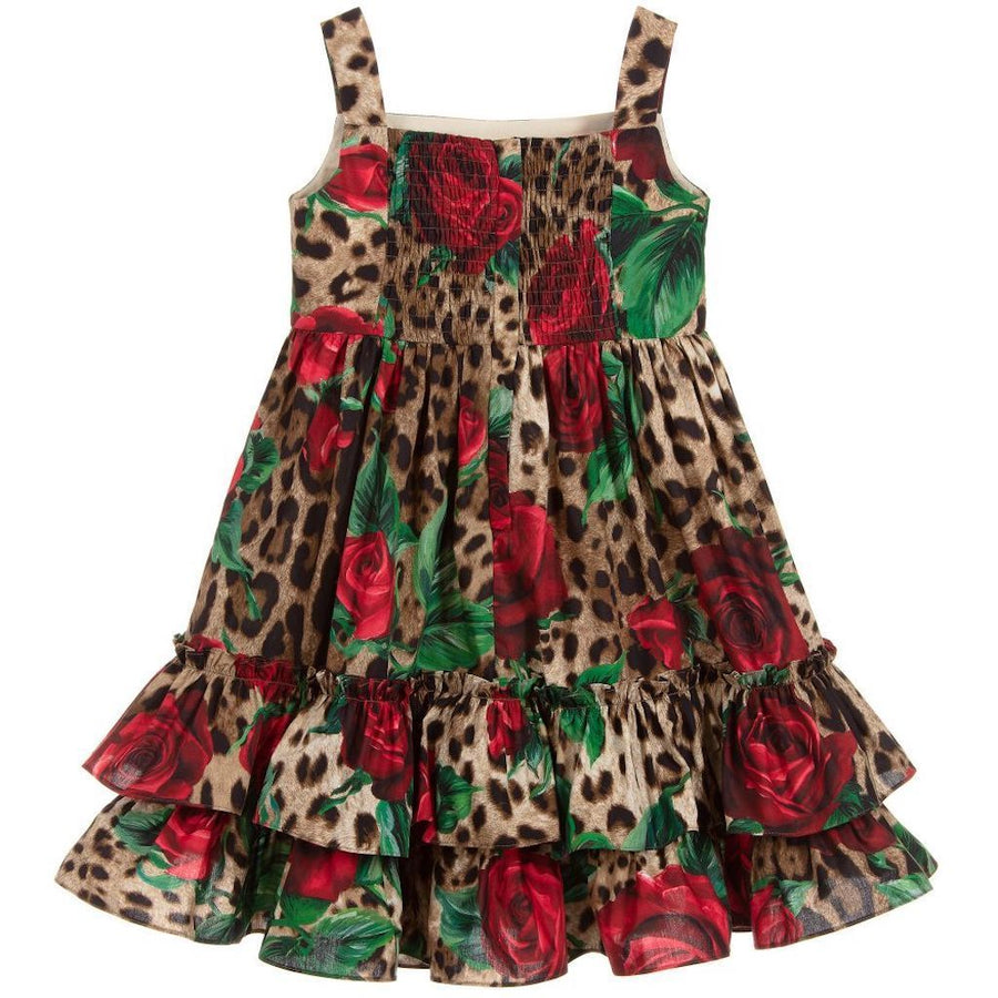 DOLCE & GABBANA LEOPARD ROSE SLEEVE DRESS