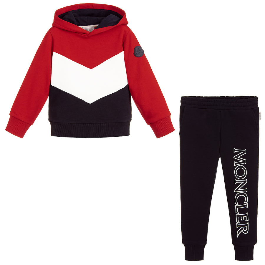 Moncler Red White Navy Tracksuit Set