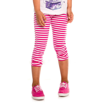 PINK STRIPE CAPRI LEGGINGS