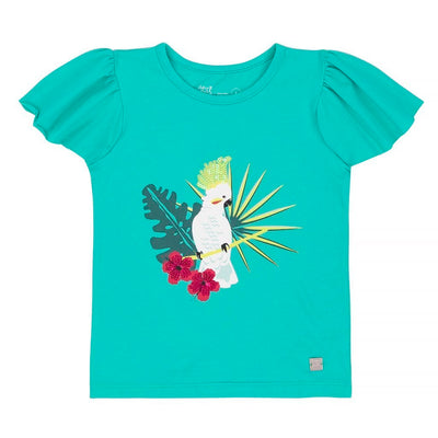 Deux Par Deux Atlantis Ruffle Sleeves With Cockatoo Print T-shirt -a30k70-356-