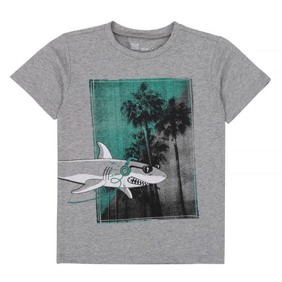Deux Par Deux Grey Mix Shark T-shirt-a30u79-194-