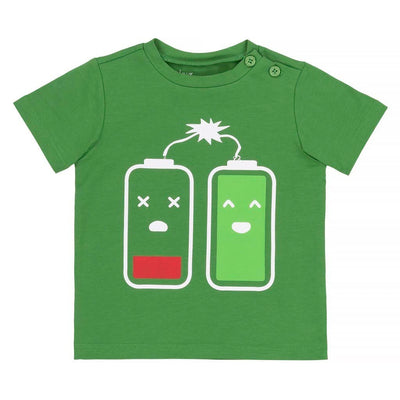 Deux Par Deux Green T-Shirt With Battery Print -a30s71-386-