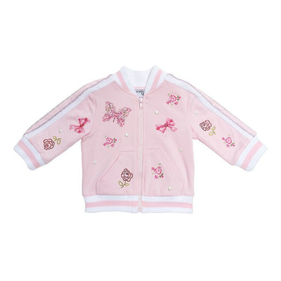 Monnalisa Pink Rose And Butterfly Zip Up Cardigan-393802r8-3006-0090-rosa
