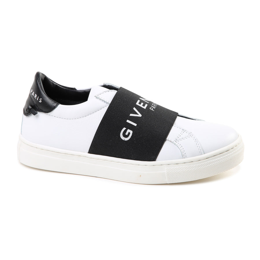 GIVENCHY WHITE BLACK LOGO BAND TRAINERS
