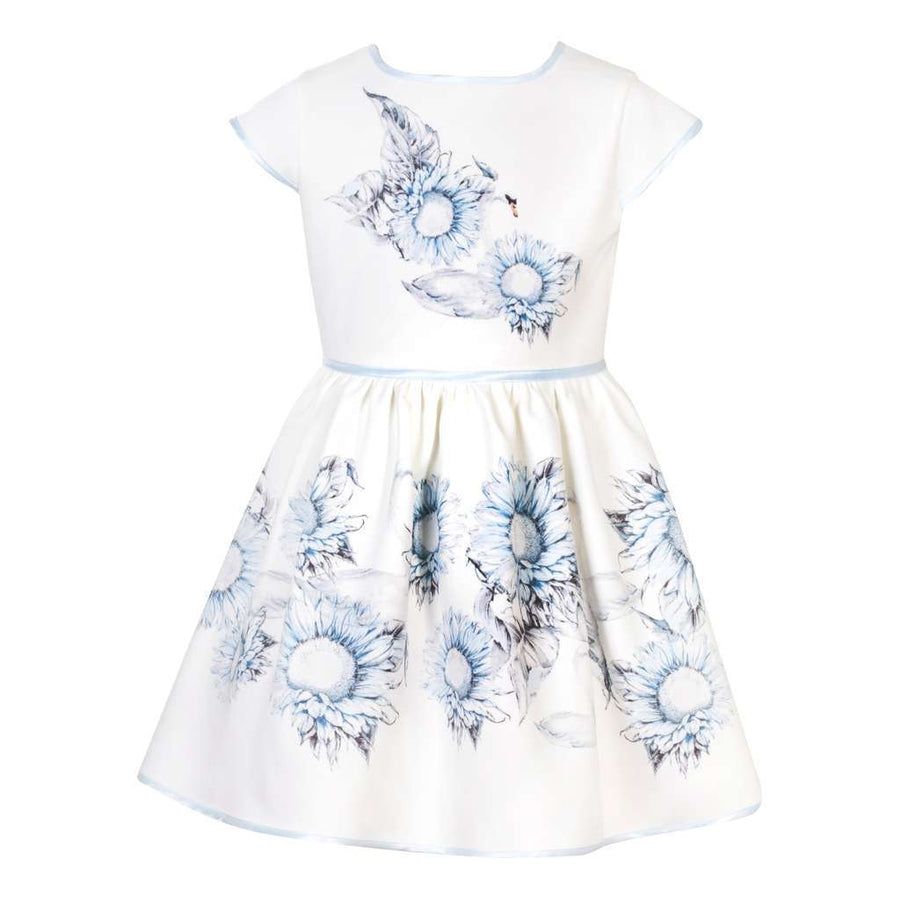 Patachou White Blue Flower Print Dress