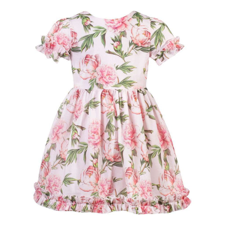 Patachou Pink Green Roses Ruffles Dress