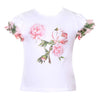 Patachou White  Green Floral Ruffle Sleeve T-Shirt