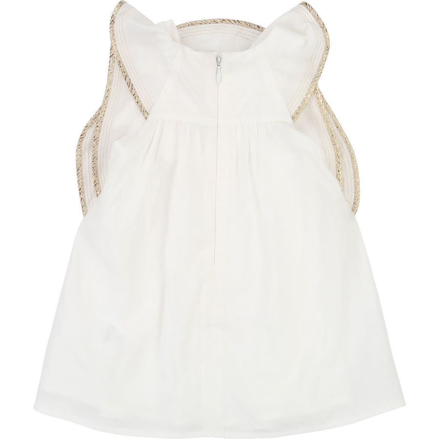 Chloe Ivory Gold Trim Detail Dress