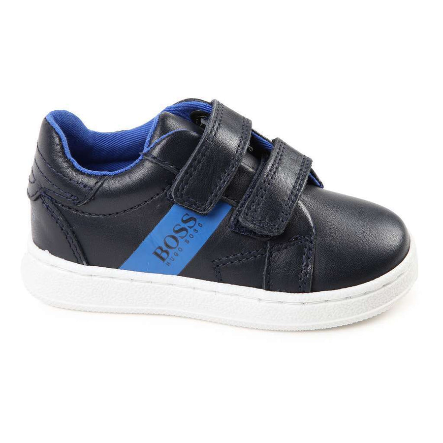 Boss Dark Navy Blue Leather Trainers