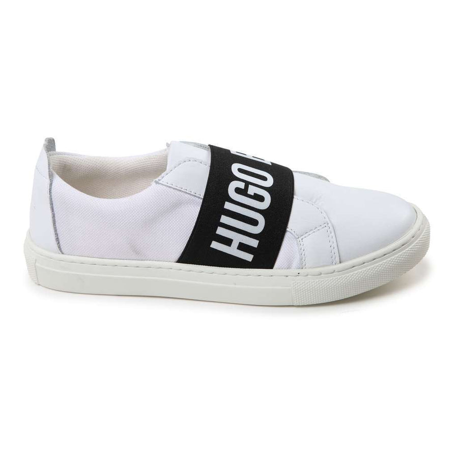 Boss White Leather And Textile Trainers