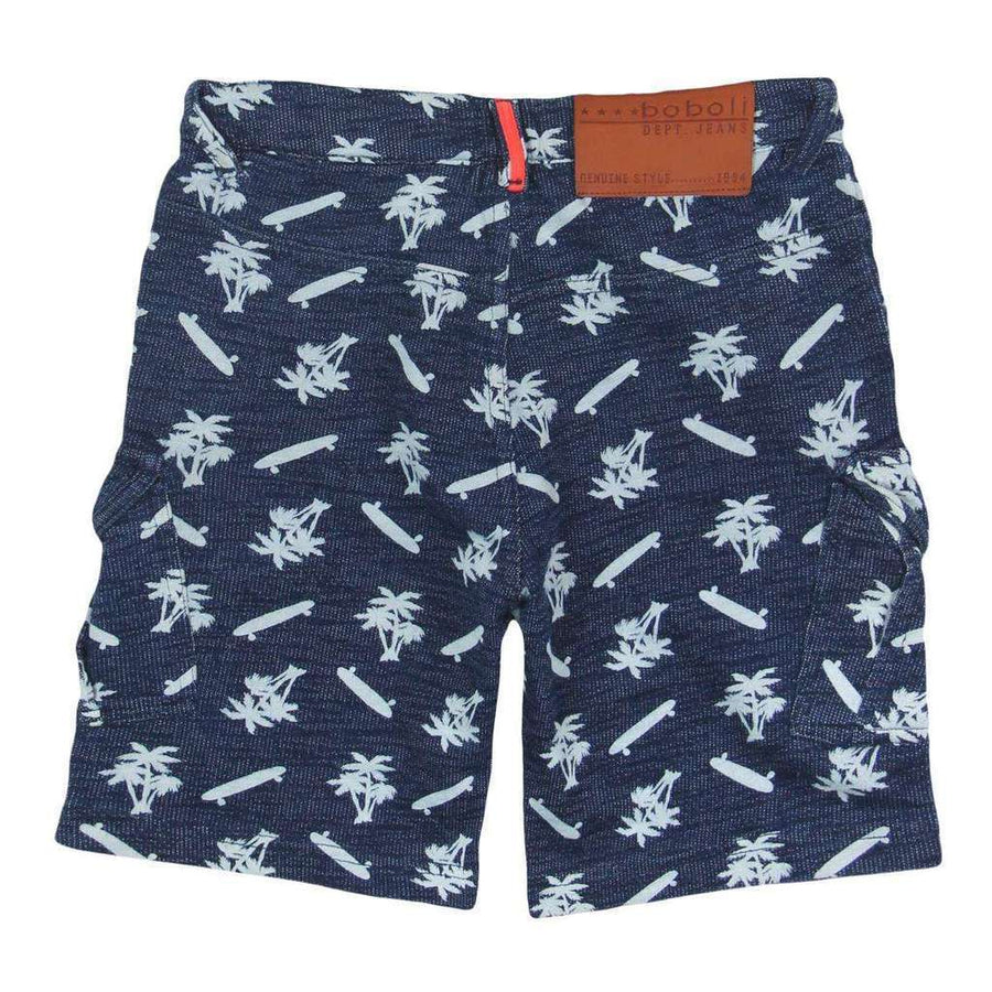 Print Fleece Bermuda Flame Shorts