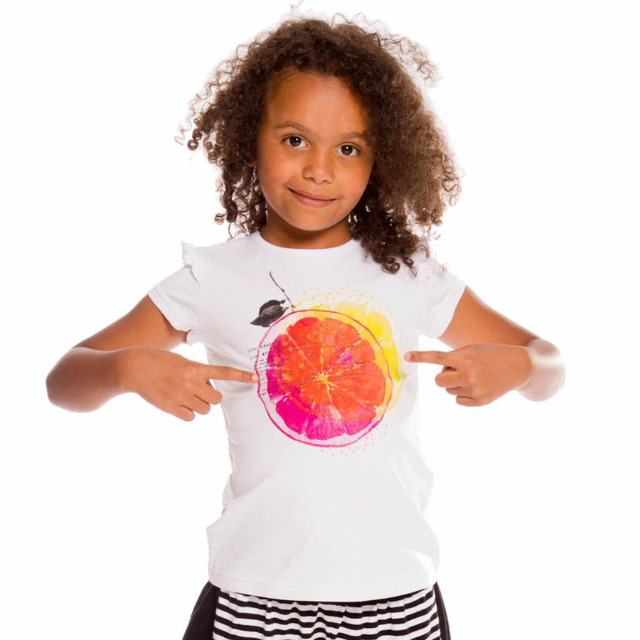 Deux Par Deux White With Lemon Print T-shirt a30j71-100