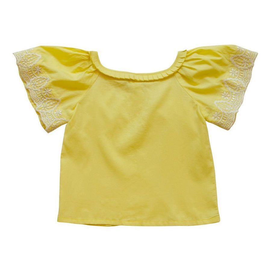 VICTORIA ROAD-THE PARVIN BLOUSE-VR-GSH-030-PA104-Y YELLOW W/ WHITE EMBROIDERY