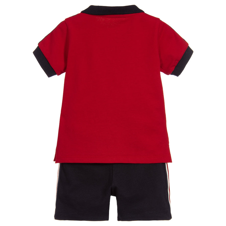 MONCLER RED NAVY SHOULDER STRIPE POLO & SHORTS SET
