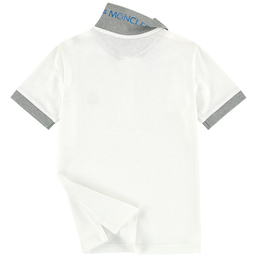 MONCLER WHITE COLLAR LOGO SHORT SLEEVE POLO