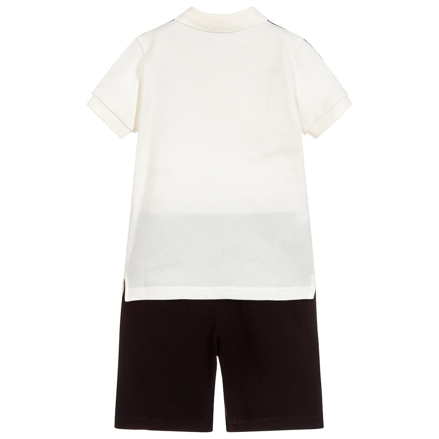MONCLER WHITE BLACK SHORT SLEEVE LOGO POLO & SHORTS SET