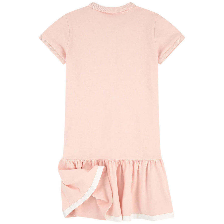 MONCLER LIGHT PINK SHORT SLEEVE RUFFLES SKIRT DRESS