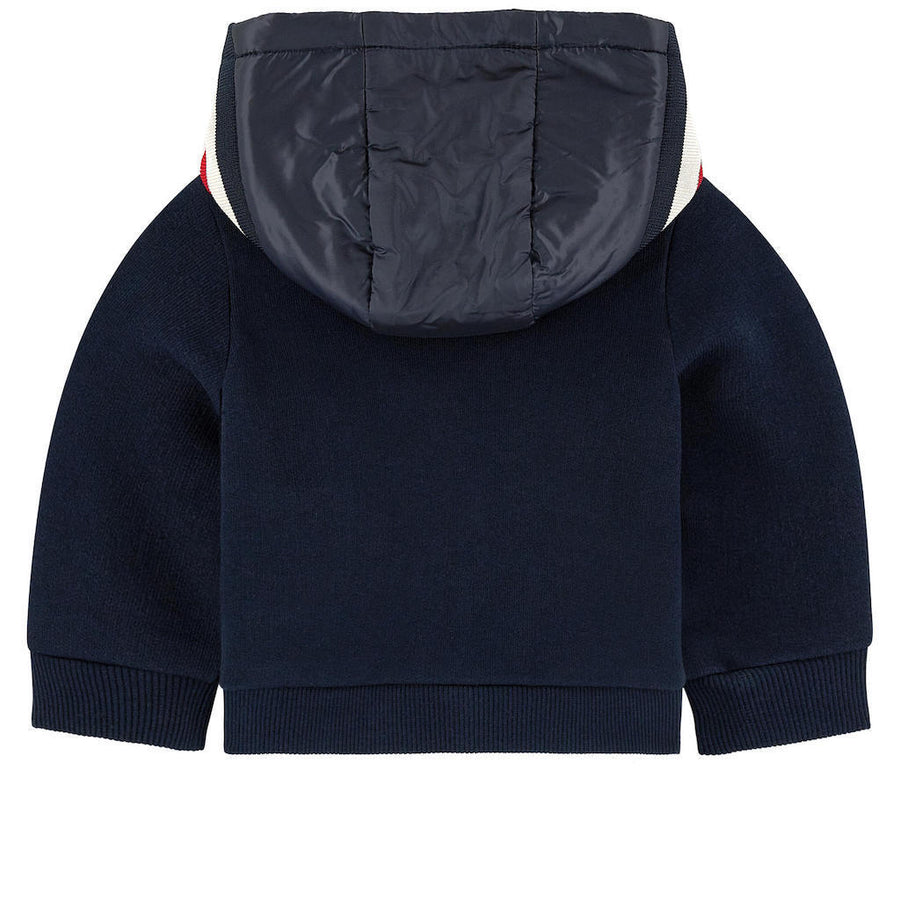 MONCLER NAVY HOODED CARDIGAN