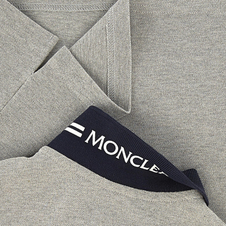 MONCLER GRAY COLLAR LOGO SHORT SLEEVE POLO