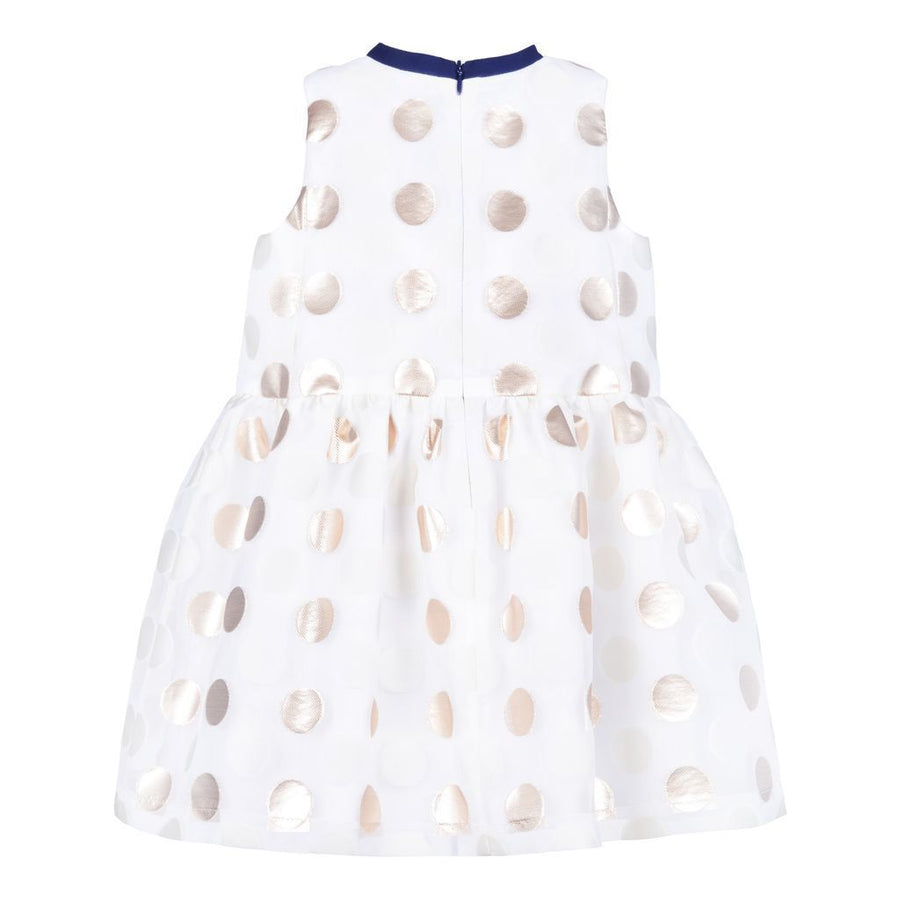 Hucklebones Gold Ivory Dots Peplum Trapeze Dress-ss19-111-